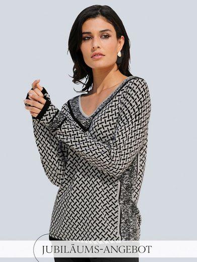 Alba Moda V-Ausschnitt-Pullover im exklusiven Print