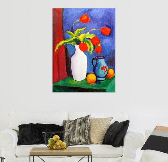 Posterlounge Wandbild, Rote Tulpen in weißer Vase