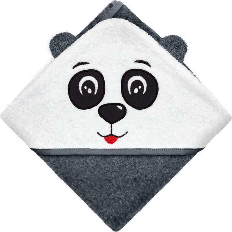 Hyggeglück Kapuzenhandtuch »in Premium-Qualität, verschiedene Motive aus 100% Bio-Baumwolle in 75 x 75 cm aus extradickem Stoff mit 380g/m²«, Design: Panda, aus Frottee, nachhaltig, atmungsaktiv, hautfreundlich, saugfähig, pflegeleicht