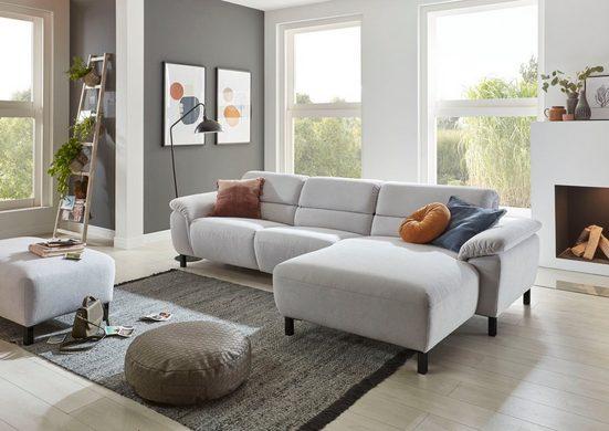 Places of Style Ecksofa »Trapani«, wahlweise mit teilmotorischer Relaxfunktion und klappbaren Armlehnen