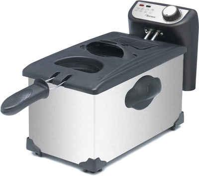 bestron Fritteuse AF351, 2000 W, Fassungsvermögen ca. 1 kg, mit Kaltzonentechnologie, 3,5 Liter, inklusive Sichtfenster und Temperaturregler, spülmaschinengeeignet, silber