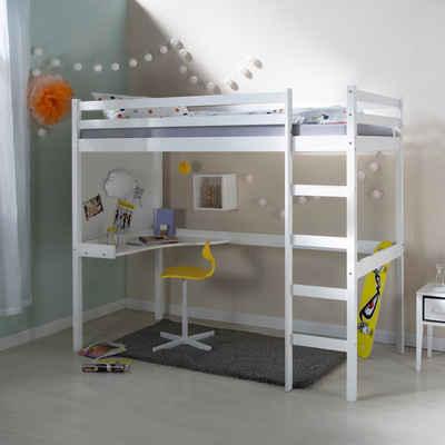 Homestyle4u Hochbett Kinderbett mit Schreibtisch, in weiß oder natur