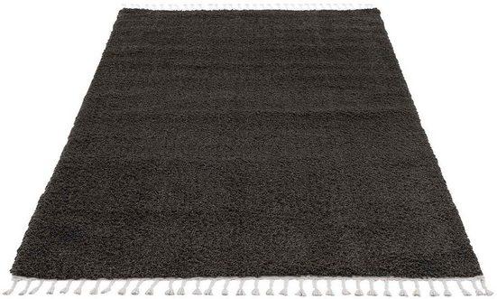 Hochflor-Teppich »Pulpy 100«, Carpet City, rechteckig, Höhe 30 mm, mit Fransen, Wohnzimmer