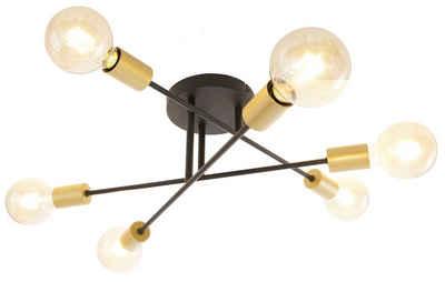 Leonique Deckenleuchte »Jarla«, Deckenlampe / Wandlampe mit goldfarbenen Fassungen, Arme flexibel verstellbar / schwenkbar