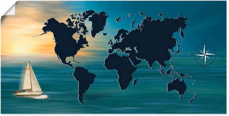 Artland Wandbild »Weltumsegelung mit Weltkarte«, Landkarten (1 Stück), in vielen Größen & Produktarten -Leinwandbild, Poster, Wandaufkleber / Wandtattoo auch für Badezimmer geeignet