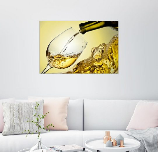 Posterlounge Wandbild, Weißwein im Weinglas