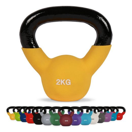 MSports® Kettlebell »Kettlebell Professional Neopren 2 – 30 kg inkl. Übungsposter Kugelhantel«