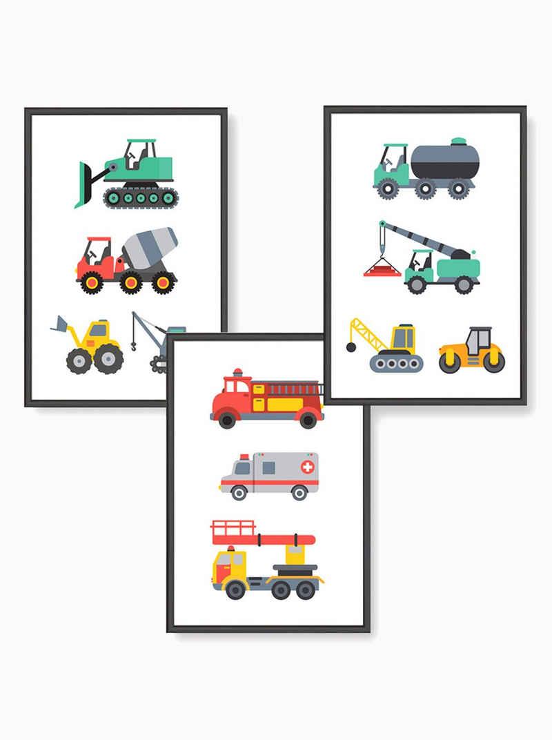 Himmelzucker Poster »DIN A4 Wandbilder für Kinderzimmer Babyzimmer Autos Baustelle Feuerwehrauto Bilder«, Fahrzeuge (3-teiliges Poster-Set, 3 Stück), Kinderposter für Junge Mädchen (DIN A4 ohne Rahmen)