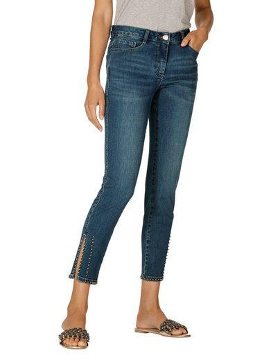 Amy Vermont Jeans mit Perlendekoration am Saum