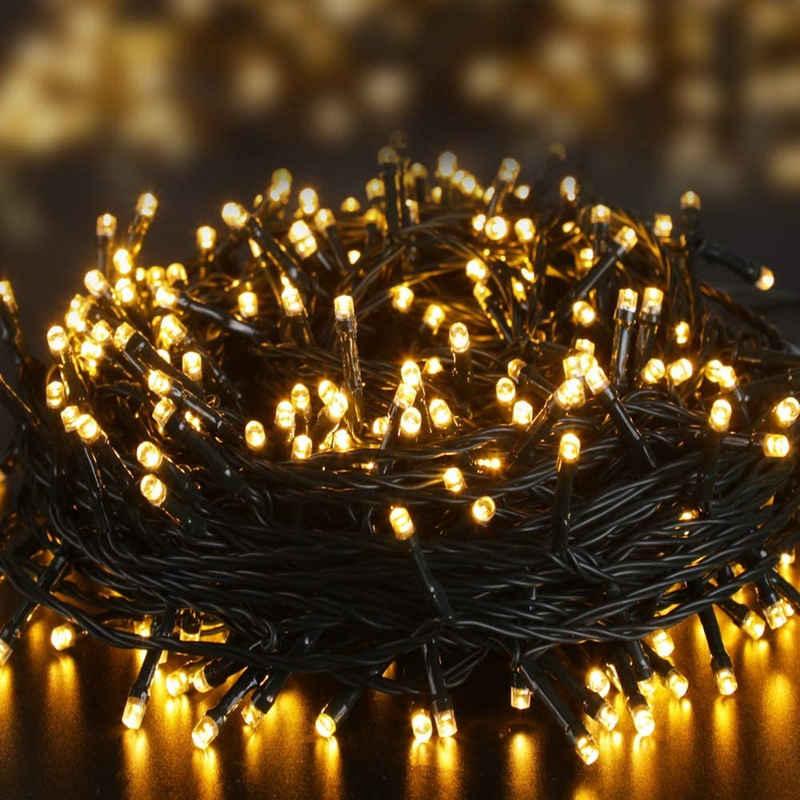 Elegear LED-Lichterkette, LED Lichterkette Batterie 40M 300 LEDs, Lichterkette Außen Timer Memoryfunktion 8 Modi IP44 Wasserdicht Warmweiß Lichterkette für Innen und Außen, Weihnachtsbeleuchtung für Weihnachtsdeko, Weihnachtsbaum