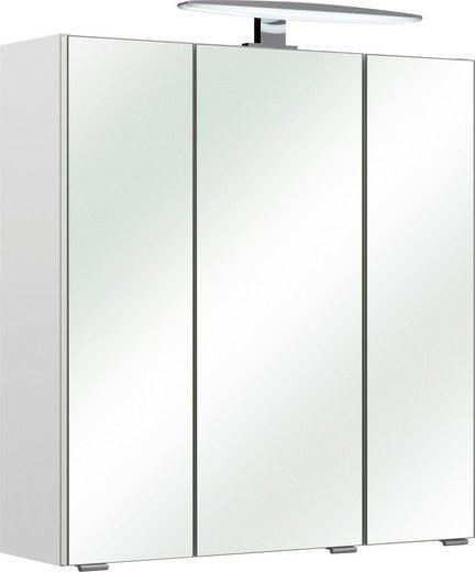 PELIPAL Spiegelschrank »Kassel« mit LED-Beleuchtung, Breite 65 cm, 3 Türen inkl. Türdämpfer