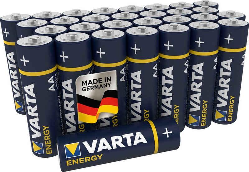VARTA »Energy AA Mignon LR6 30er Pack Alkaline Batterien - Made in Germany - ideal für Spielzeug Taschenlampen und andere batteriebetriebene Geräte« Batterie, LR06 (1,5 V)