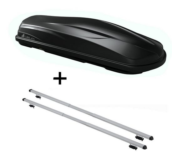 VDP Fahrradträger, Dachbox/Gepäckbox CUBE470 + Dachträger RAPID kompatibel mit Nissan Murano (5Türer) ab 08