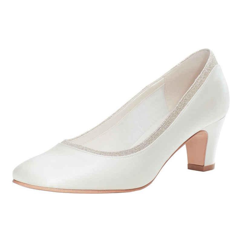 Bride Now! »Frauen Gepolsterte Braut Glitter Satin Hochzeit Gericht / Pumpe Elfenbein / Creme 6 cm Block Ferse Schuhe« Pumps