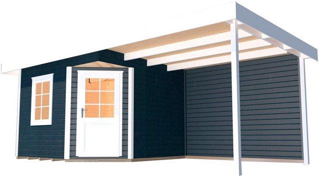 Weka Holz-Gartenhaus San Remo A Anthrazit-Weiß 541 cm x 238 cm
