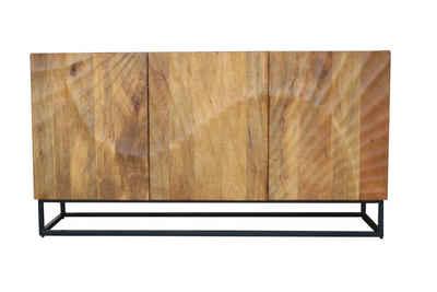 riess-ambiente Sideboard »SCORPION 140cm braun«, Massivholz · Anrichte · Metall · Kommode · 3D Schnitzereien · Wohnzimmer