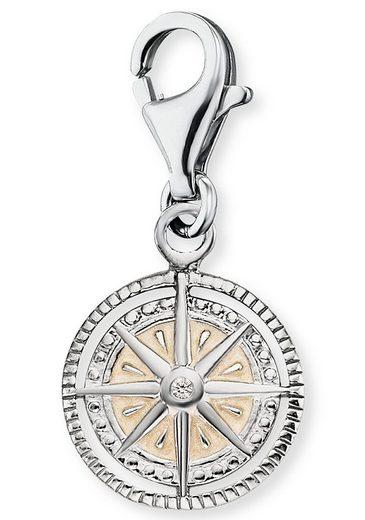 Engelsrufer Charm-Einhänger »Charm Windrose Silber mit Emaille, ERC-WINDROSE-PE-ZI«, mit Zirkonia