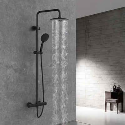 Rainsworth Duschsystem, Höhe 84 cm, 3 Strahlart(en), Komplett-Set, 9 Inch Regendusche Duschsystem, Hochdruck Duschkopf, Thermostat Duscharmatur mit Höhenverstellbarer Duschstange, Schwarz