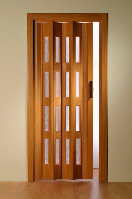 Kunststoff-Falttür mit 4 Fenstern in buchefarben