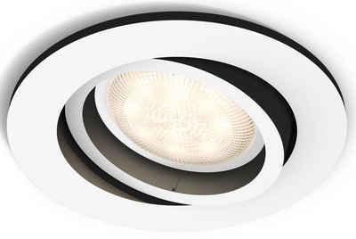 Philips Hue LED Einbaustrahler »Philips Hue White Amb. Milliskin Einbauspot rund«, steuerbar per Bluetooth oder Hue Bridge, 4 vorprogrammierte Lichtszenee, Lichtfarbe 2200-6500 Kelvin, Erweiterungsset ohne Dimmschalter