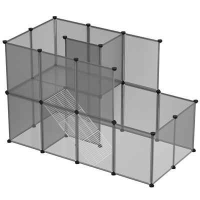 SONGMICS Kleintierkäfig »LPC03W LPC003G01«, Meerschweinchen-Käfig mit Rampe, DIY-Hamsterkäfig aus Kunststoff, grau