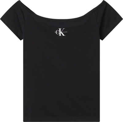 Calvin Klein Jeans Shirttop »MONOGRAM SLIM BARDOT TOP« mit Calvin Klein Jeans Logo-Schriftzug