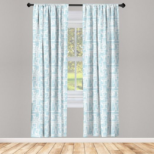 Gardine »Vorhang für Wohnzimmer Schlafzimmer Dekor«, Abakuhaus, Baby blau Abstrakt Maze Art-Motiv