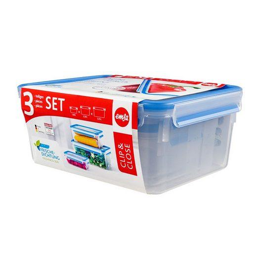Emsa Frischhaltedose »Dosen 3 tlg. 3D Perfect Clean Clip Close«, Kunststoff, (1-tlg)