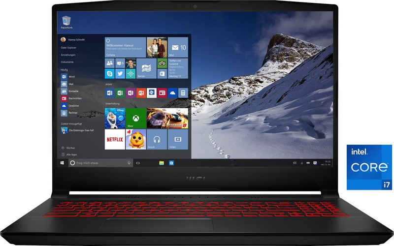 MSI Katana GF66 11UE-063 Gaming-Notebook (39,6 cm/15,6 Zoll, Intel Core i7 11800H, GeForce RTX™ 3060, 512 GB SSD, Kostenloses Upgrade auf Windows 11, sobald verfügbar)
