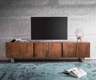 DELIFE Lowboard »Live-Edge«, Akazie Braun 220 cm 6 Türen Massivholz Baumkante Lowboard