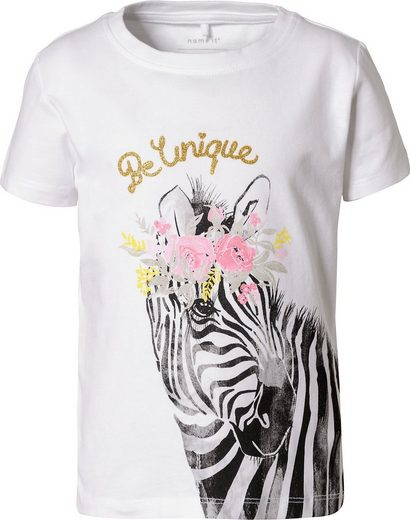Name It T-Shirt »T-Shirt NMFJAZEBRAER für Mädchen, Organic Cotton«