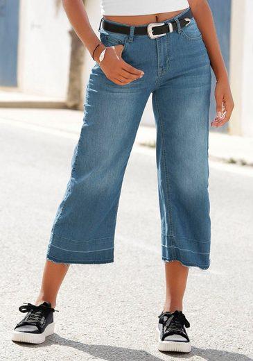 Buffalo Culotte-Jeans mit ausgefransten Abschlüssen