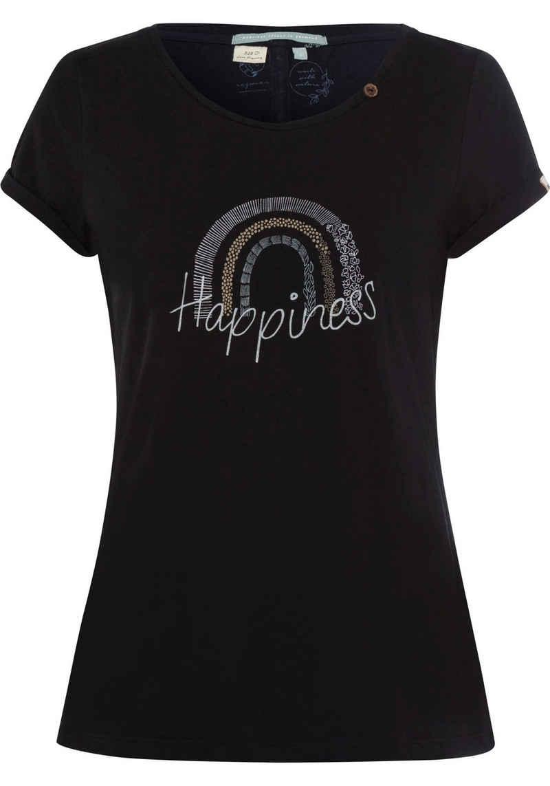 Ragwear T-Shirt »FLORAH PRINT A ORGANIC« mit verschiedenen Motiv und Messagedrucken, enthält recyceltes Material