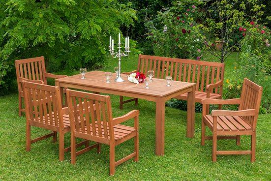 MERXX Gartenmöbelset »Santos«, 6tlg., 4 Sessel, Bank, Tisch, Eukalyptusholz, natur
