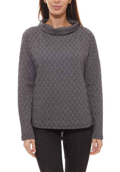 GUIDO MARIA KRETSCHMER Rundhalsshirt »GUIDO MARIA KRETSCHMER Curvy Collection Jacquard-Shirt klassisches Damen Langarm-Shirt mit Stehkragen Business-Shirt Schwarz/Weiß«
