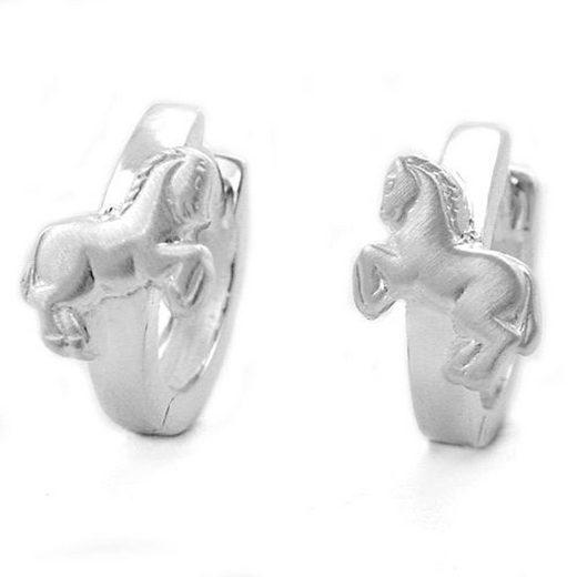 unbespielt Paar Creolen »Ohrringe Silber 925 Creolen Pferd matt- glänzend 11 x 2 mm Klappscharnier inklusive Schmuckbox«, Silberschmuck für Kinder