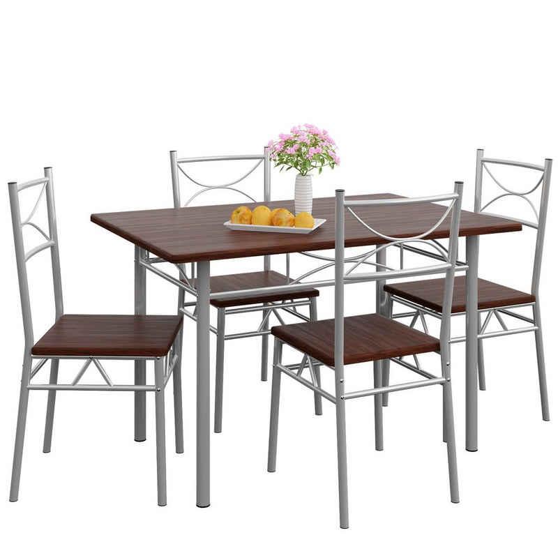 Casaria Esstisch »Paul« (5-St), Sitzgruppe Küchentisch mit 4 Stühlen für Esszimmer Küche Essgruppe Tisch Stuhl Set - Eiche Dunkel