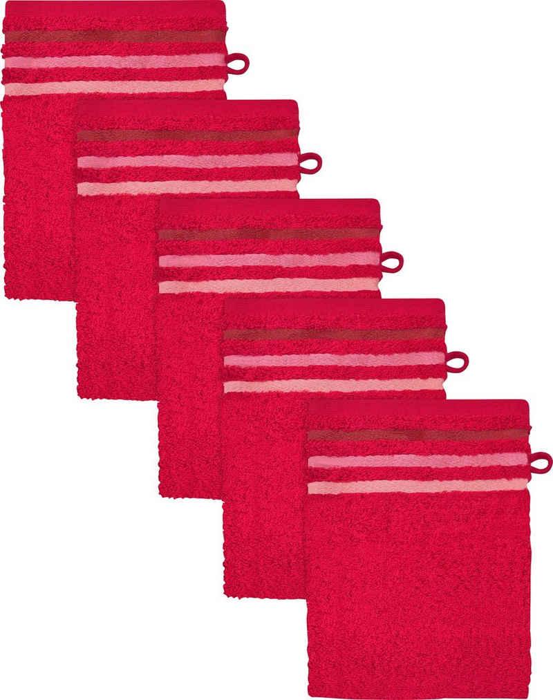 Schiesser Waschhandschuh »Skyline« (5-tlg), mit Streifenbordüre