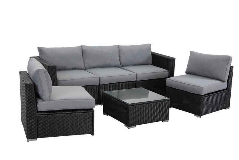 MeXo Gartenmöbelset, Polyrattan Lounge Sitzgruppe für 5 Personen für Garten, Terrasse & Balkon