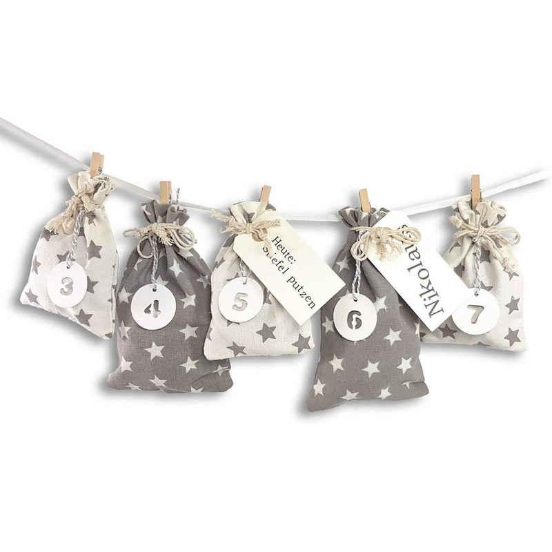 Frau WUNDERVoll Kalender zum Selbstbasteln »Adventskalender Schneeflöckchen Baumwollbeutel«