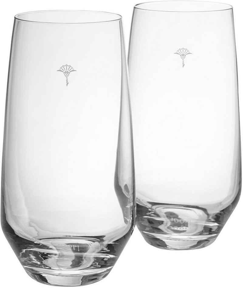 Joop! Longdrinkglas »JOOP! SINGLE CORNFLOWER«, Kristallglas, mit einzelner Kornblume als Dekor, 2-teilig