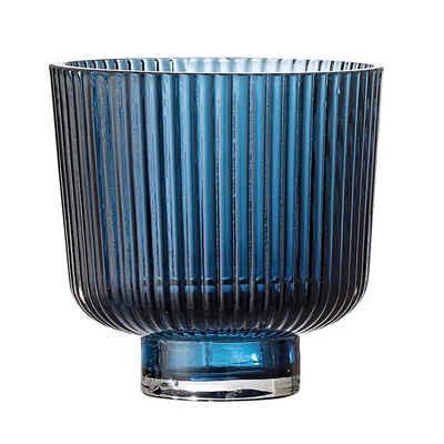 Bloomingville Teelichthalter »Cekita Flowerpot, Blue, Glass«, Ø9cm Glas kleiner Kerzenhalter Dekoration dänisches Design, blau