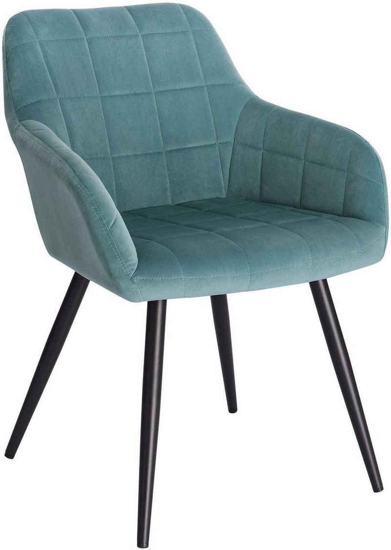 Woltu Esszimmerstuhl »BH93« (1 Stück), Polsterstuhl mit Armlehne, Sitzfläche aus Samt, Metallbeine