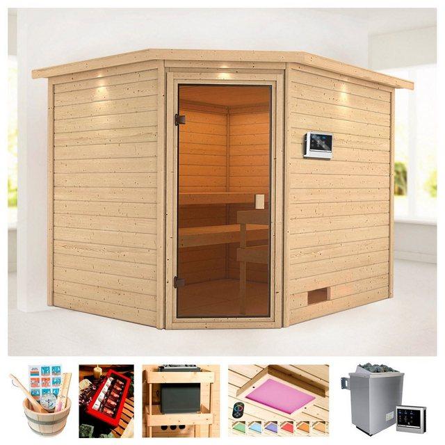 Saunen und Zubehör - KARIBU Sauna »Trixi«, 258x209x191 cm, 9 kW Ofen mit ext. Steuerung, Dachkranz  - Onlineshop OTTO