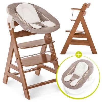 Hauck Hochstuhl »Alpha Plus Walnut - Newborn Set« (4 Stück), Holz Hochstuhl ab Geburt + Neugeboreneneinsatz & Wippe Deluxe + Sitzpolster