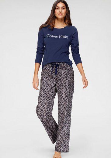 Calvin Klein Pyjama mit Logoschriftzug und gemusterter Hose
