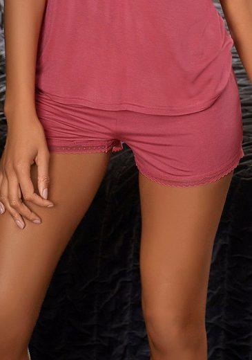 LASCANA Pyjamashorts mit feiner Spitzenkante