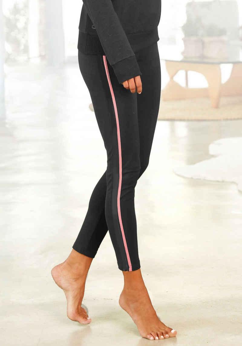 H.I.S Leggings Seitliche Streifeneinsätze in Kontrastfarben