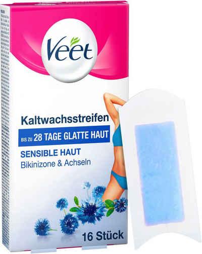 Veet Kaltwachsstreifen »Easy-Gelwax Bikinizone & Achseln«, 16 Stück, für sensible Haut