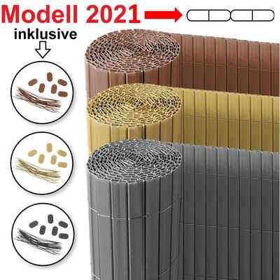 Ribelli Balkonsichtschutz PVC Abschlussleiste, 100 cm, bambus-1 Stück